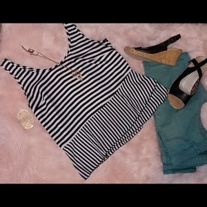International concepts striped peplum blouse